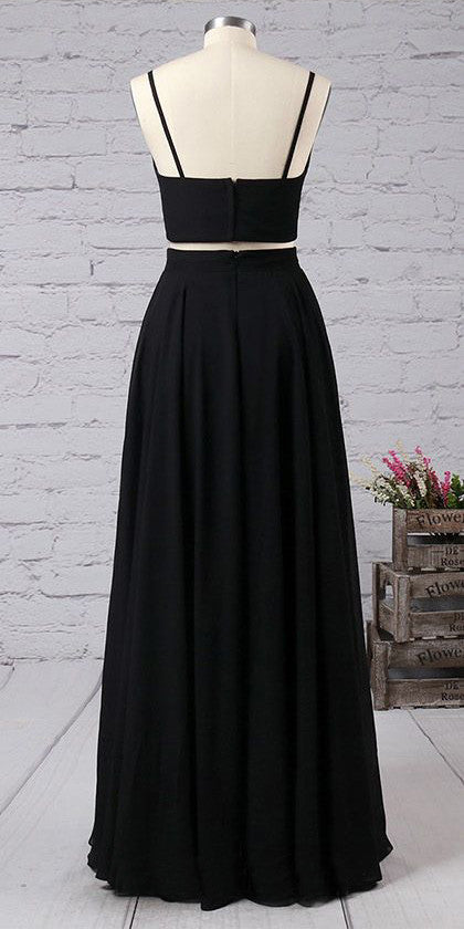 Spaghetti Straps Prom Dresses,Black Prom Dress,Two Pieces Floor Length Party Gown N49
