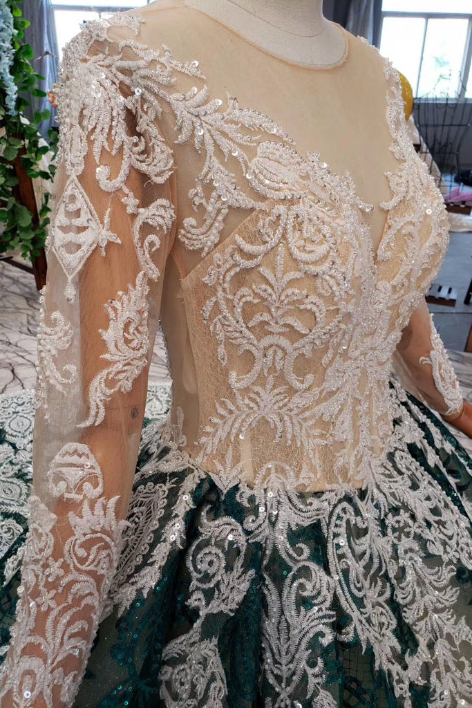 Green Long Sleeves Ball Gown Lace Prom Dress with Appliques, Long Prom Gown N2198