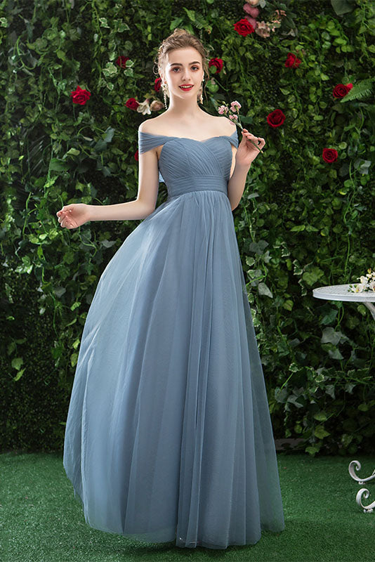 Cheap Off Shoulder Tulle Long Prom Dress with Short Sleeves,  Simple Bridesmaid Dresses N2323