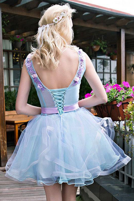 Stylish Light Blue Tulle Short Homecoming Dress with Lilac Appliques, Sweet 16 Dress N892