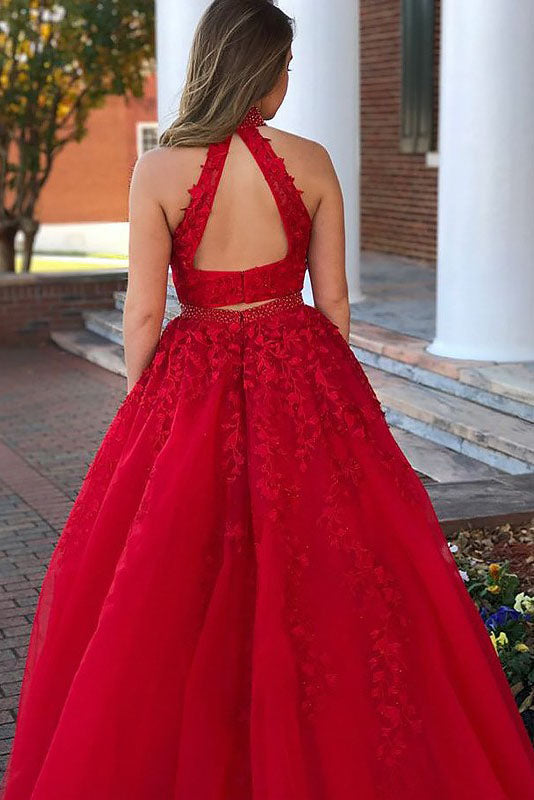 A-Line Sleeveless Jewel Beading Appliqued Tulle Long Two Piece Prom Dresses,N753