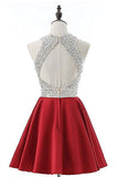 Red Jewel Satin Short Prom Dress with Beads, A Line Sparkly Homecoming Dresses N885
