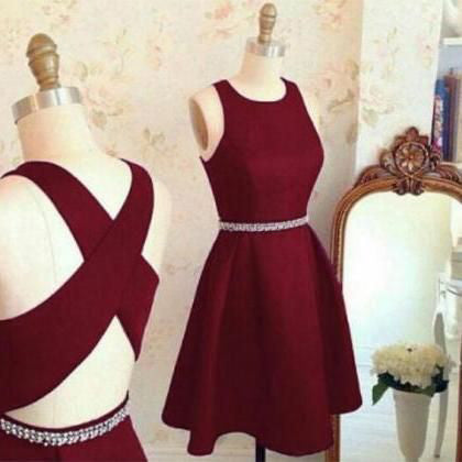 Burgundy Cute Short Prom Dresses,Sleeveless Satin Homecoming Dress,Party Dress with Beads,N274