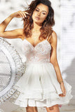 Cute A Line Spaghetti Strap Short Homecoming Dresses, Appliqued Short Prom Dresses N1072