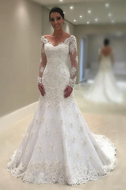 New Style Mermaid Wedding Dresses V Neck Long Sleeve Tulle With Applique and Beads N1380