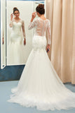 Ivory Sweep Train Applique Tulle Long Sleeves Wedding Dresses, Elegant Bridal Dress N849