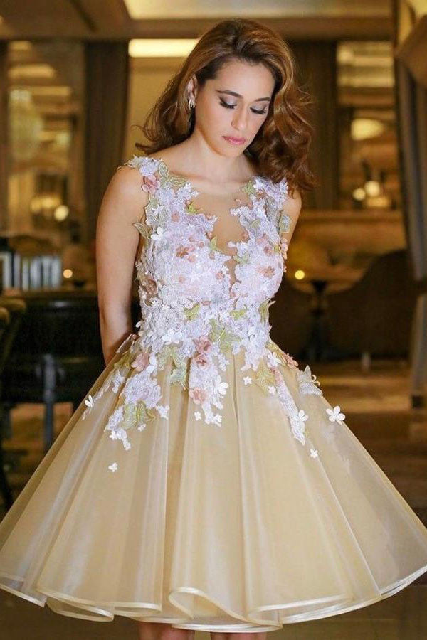 A-line V neck Backless Homecoming Dress with Flowers,Appliqued Sleeveless Junior Dresses,N238