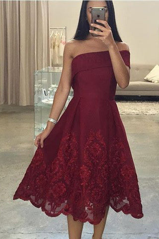 Sexy Tea Length Asymmetric Neck Prom Gowns,Lace One Shoulder Knee Length Prom Gown,N73
