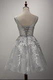 Silver Grey Appliques Sleeveless Short Homecoming Dress, Short Prom Gown N878
