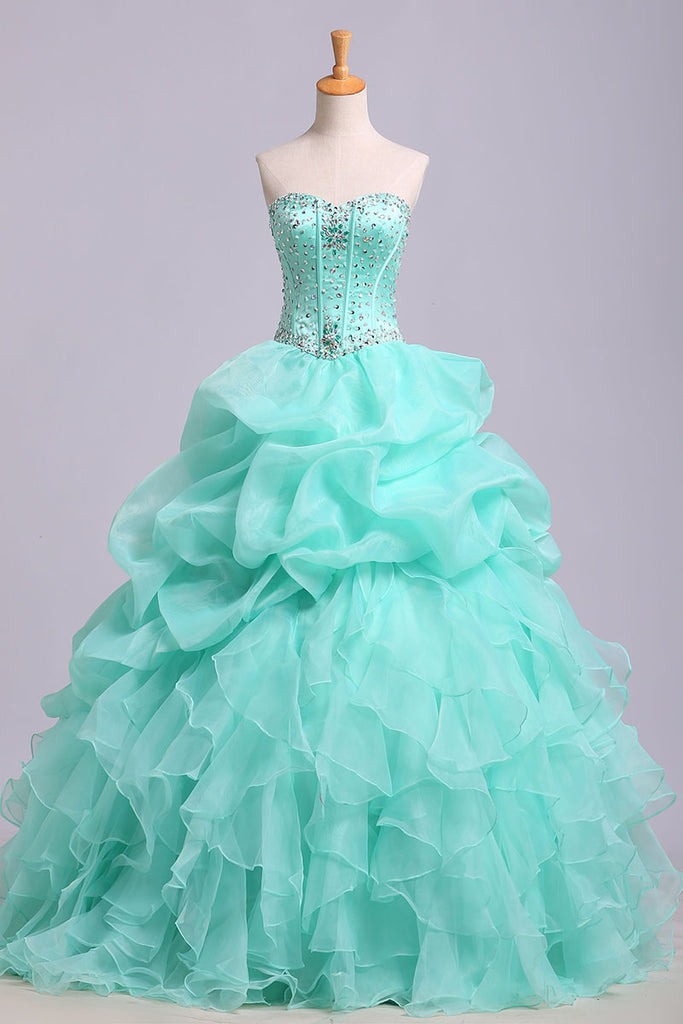 Puffy Sweetheart Sleeveless Organza Floor Length Prom Dress with Sequins, Quinceanera Dress