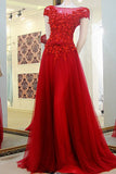 Red Cap Sleeves Prom Gowns, Appliques Tulle Custom Made Long Evening Dress,N93