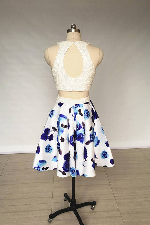 Two Piece Ivory Jewel Floral Print Satin Short Homecoming Dress with Pearls N907