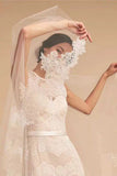 One Layer Tulle Bridal Veils with Lace Applique Edge, Ivory Wedding Veils with Comb V035