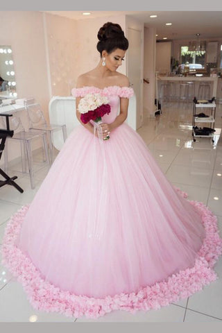 Pink Ball Gown Princess Off-shoulder Hand-Made Flower Wedding Dress,Quinceanera Dresses,N479