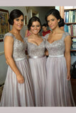 Silver Hot V-neck Chiffon Lace Appliques Bridesmaid Dresses,Prom Dress,N431