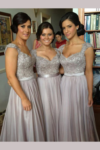Silver Hot V-neck Chiffon Tulle Lace Appliques Bridesmaid Dresses,Prom Dress,N431