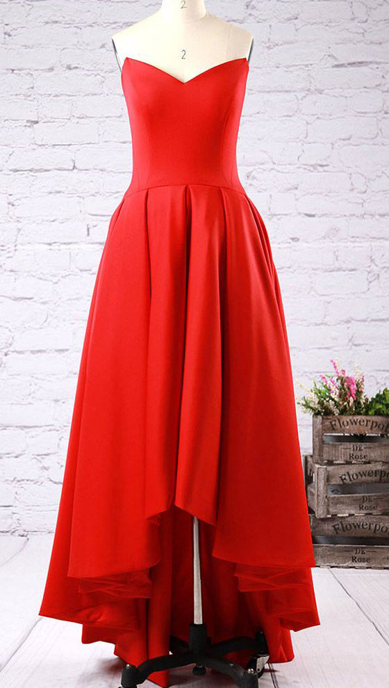Red Sweetheart Prom Dresses,High-low Strapless Prom Gown,Red Formal Dress With Ruffles,N101