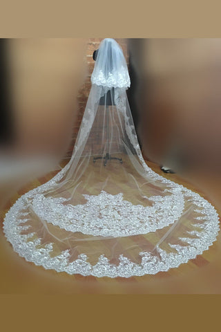 3.5m White Long Cathedral Bridal Wedding Veil With Comb 2 Tiers Lace Applique,V012