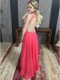 Hot Pink A-line Deep V-neck Chiffon Beading Backless Sleeveless Prom Gown,Formal Gown,N454