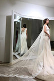 Trumpet Floor-length Sheer Sleeveless Lace Appliques Chiffon Wedding Dress with Shoulder Yarn,N410