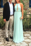 Tiffany Blue Halter Sleeveless Long Chiffon Prom Dress, Sexy Backless Formal Dress N823