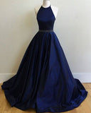 Dark Blue Halter Prom Dresses,Ball Gowns Graduation Dresses,Formal Dress For Teens,N62