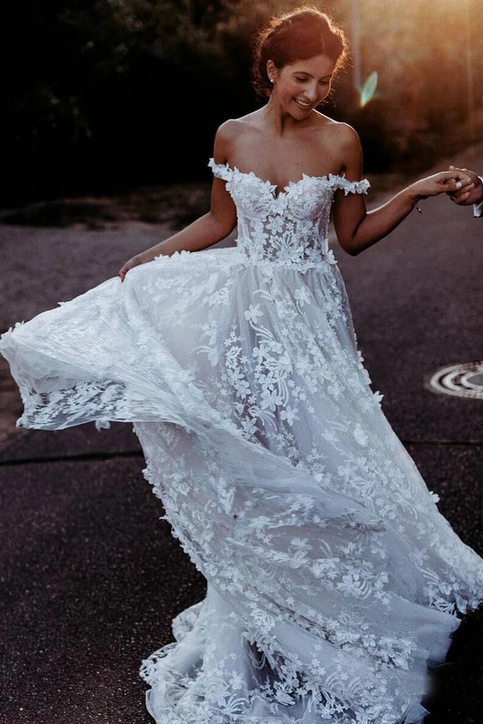White Off the Shoulder Lace Beach Wedding Dresses Rustic Boho Wedding Dress N2264