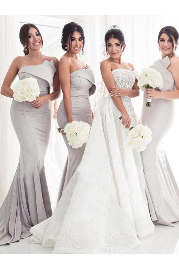 Strapless Mermaid Bridesmaid Dress with Sweep Train, Trumpet Sleeveless Bridesmaid Dresses N2381