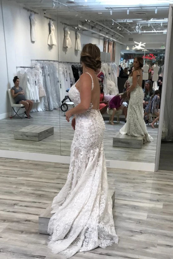 Spaghetti Straps Mermaid V Neck Backless Lace Wedding Dresses with Train N2504