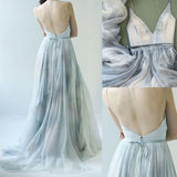 Spaghetti Straps V-neck Prom Dress,Long Backless Senior Prom Dress,Formal Women Dresses,N43