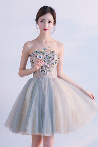 05c18fe0d Cute Sweetheart Homecoming Dress with Flowers, Short Strapless Prom Dresses  N1727 – Simibridaldress