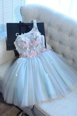 A Line One Shoulder Juniors Tulle Homecoming Dresses, Cute Graduation Dress with Flower N1944