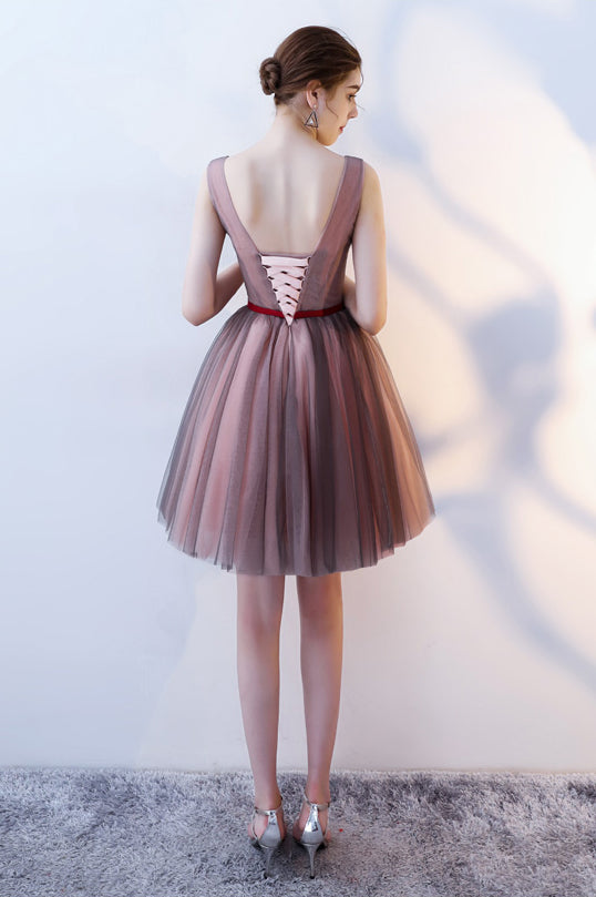 A Line V Neck Sleeveless Tulle Short Prom Dress with Flowers,Cheap Homecoming Dress N776
