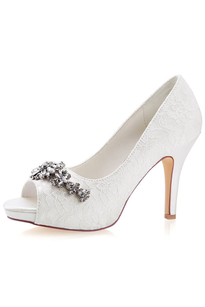 Ivory High Heels Wedding Shoes with Rhinestone, Peep Toe Fashion Wedding Party Shoes