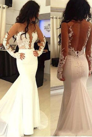 Sexy Mermaid Prom Dresses,Hot Sale Open Back Wedding Dress,Long Sleeve Formal Dress N60