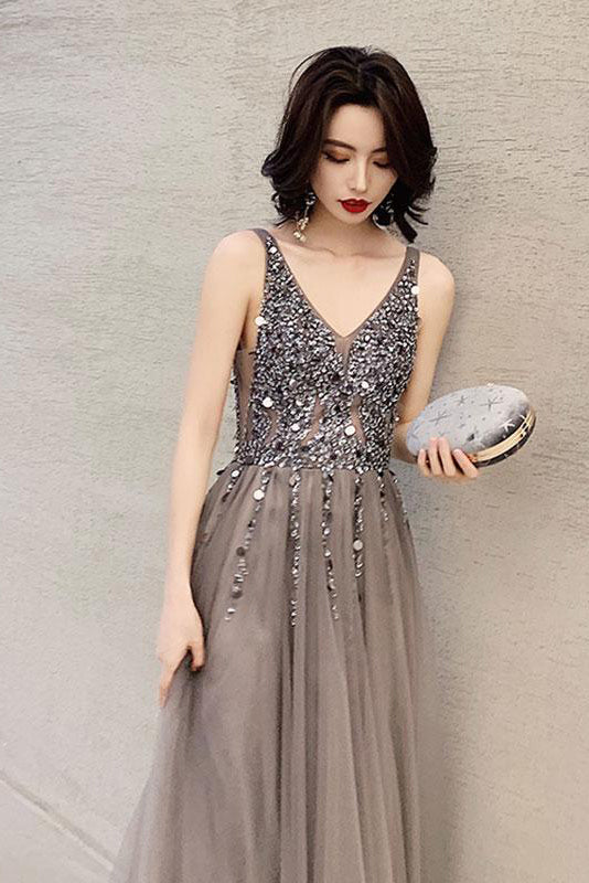 Dark Gray V Neck Sparkly Beading Prom Dress with Sequins, Long Tulle Prom Gown N1762