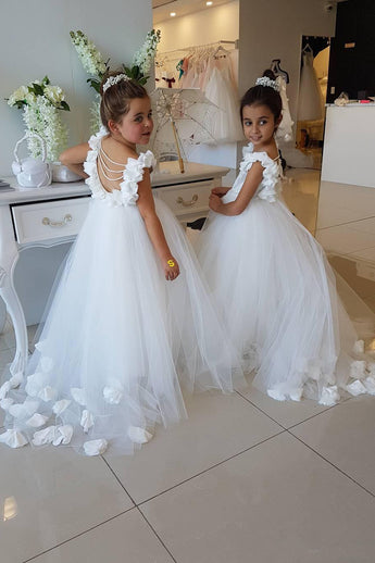 Long Tulle Flower Girl Dress with Pearls, Puffy Custom Made Kids Dress with Flowers F044