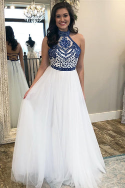 White High Neck Long Prom Dress with Royal Blue Embroidery, Charming Party Dress N1655