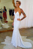 Spaghetti Strap Lace Sexy Mermaid Cheap Long Wedding Dresses, Lace Bridal Dress