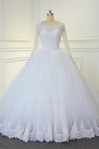 White Ball Gown Long Sleeves Bridal Dresses With Lace Gorgeous