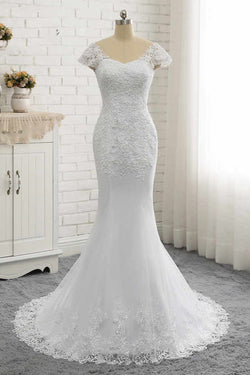 White Lace Appliques Wedding Dress with Short Sleeves, Long Tulle Bridal Dress with Lace N1569