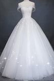 White Princess Off Shoulder Tulle Wedding Dress, Floor Length Appliqued Bridal Dress