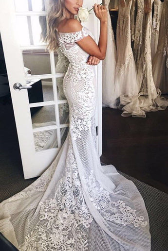 Sexy Mermaid White Off-the-shoulder Sheer Lace Appliques Court Train Beach Wedding Dress,N496