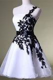 One Shoulder White Homecoming Dress with Black Lace, Knee Length Party Dress