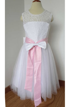 cbad3060824 A Line Floor-length White Lace Tulle Flower Girl Dress with Pink Bow Sash