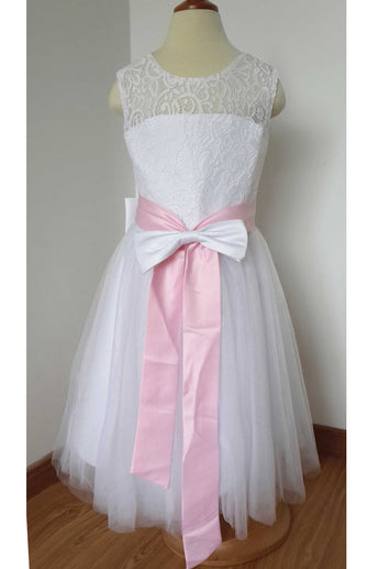 A Line Floor-length White Lace Tulle Flower Girl Dress with Pink Bow Sash