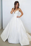 Spaghetti Straps White V Neck Sleeveless Satin Bridal Dress,Beach Wedding Gown,N491