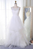 A Line Sleeveless Tulle Wedding Dress, Cheap Beach Wedding Dress, Bridal Dress