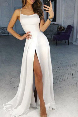 White Spaghetti Strap Split Formal Dress, Sexy Long Prom Dress with Side Slit N1613