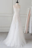 White Spaghetti Straps Lace Tulle Evening Dress, Floor Length Prom Dress with Beads N2105